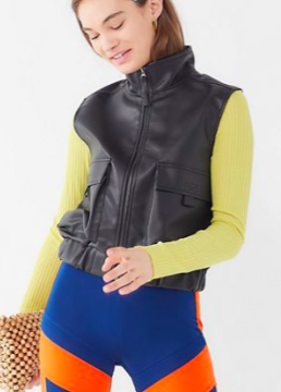UO Faux Leather Utility Vest