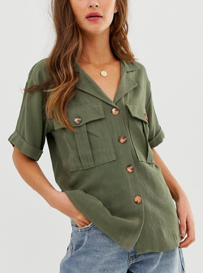 ASOS DESIGN short sleeve utility shirt in linen look