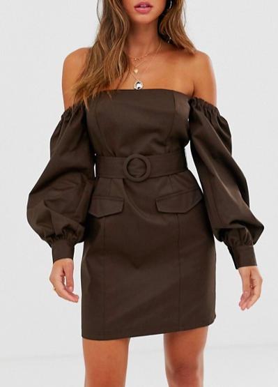 ASOS DESIGN off shoulder utility mini dress with pockets