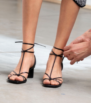 Square Toe Lace Up Heeled Sandals