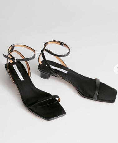 Stories Square Toe Kitten Heel Sandals