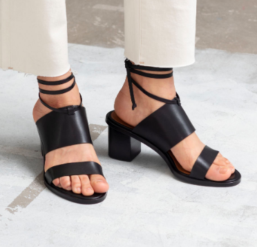 Stories Lace Up Leather Mule Sandals