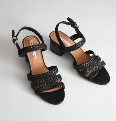 Stories Braided Trio Strap Heeled Sandals