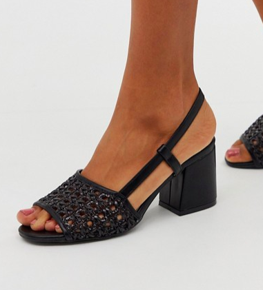 Oasis woven heeled sandals in black
