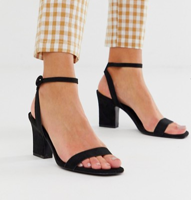 Mango two part mid sandals in black