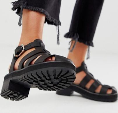 ASOS DESIGN Fisherman premium chunky flat leather sandals