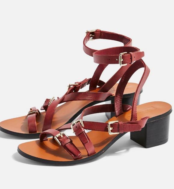Topshop VIRGO Burgundy Buckle Sandals
