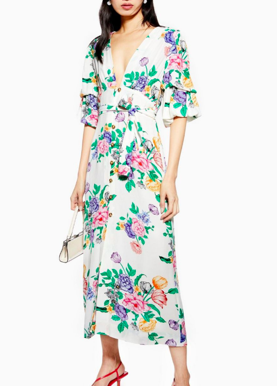Topshop White Floral Plunge Midi Dress