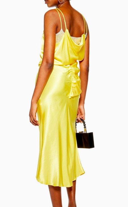 Topshop Yellow Embroidered Panel Satin Slip Dress