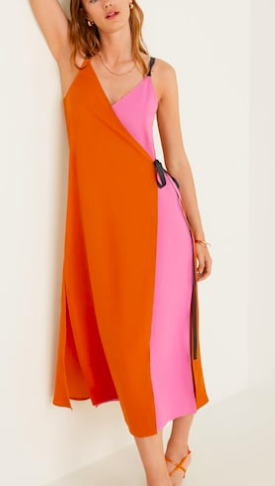 Mango Bow bicolor dress