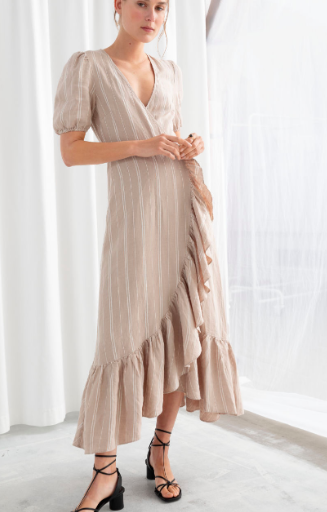 Stories Ruffled Linen Wrap Midi Dress