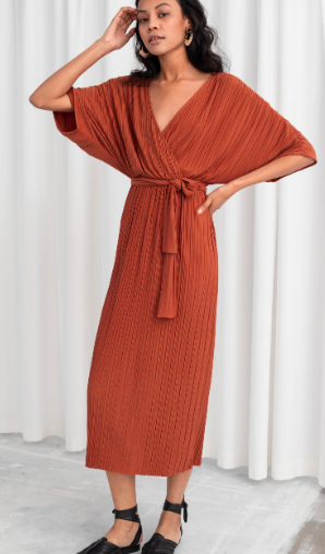Stories Belted Plissé Pleated Maxi Dress