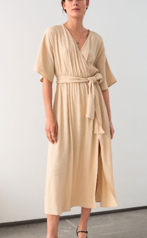 Stories Belted Kimono Wrap Midi Dress