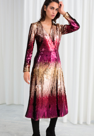 Stories Ombré Sequin Midi Dress