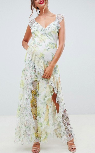 ASOS DESIGN ruffle maxi dress in floral dobby mesh with lace