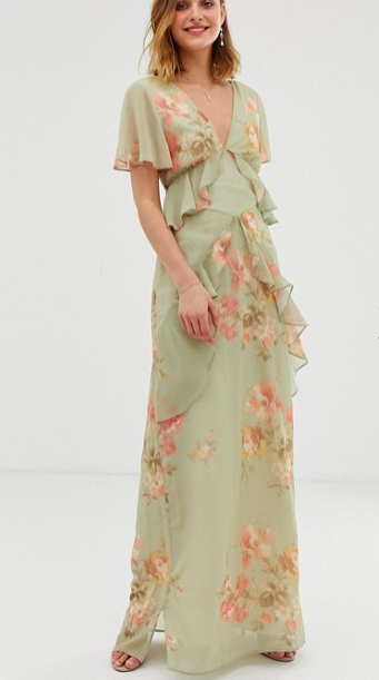 Hope & Ivy ruffle floaty maxi dress with open back in sage green floral