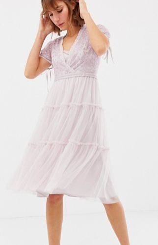 Needle & Thread embroidered tulle midi dress with cap sleeve in lavender