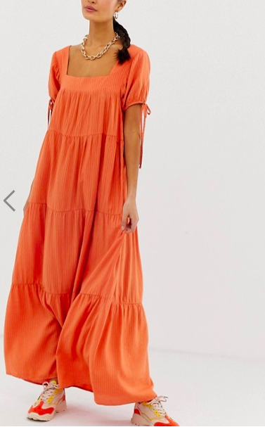 Emory Park maxi dress with tie sleeves
