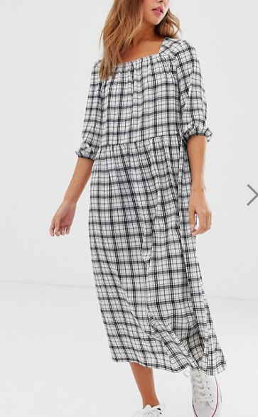 Nobody's Child square neck smock maxi dress in grid