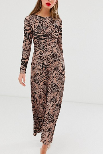 ASOS DESIGN crew neck ruched front animal print maxi dress