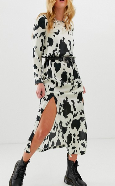 ASOS DESIGN maxi dress with cowl back in cow animal print