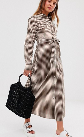 Nobody's Child maxi shirt dress in gingham