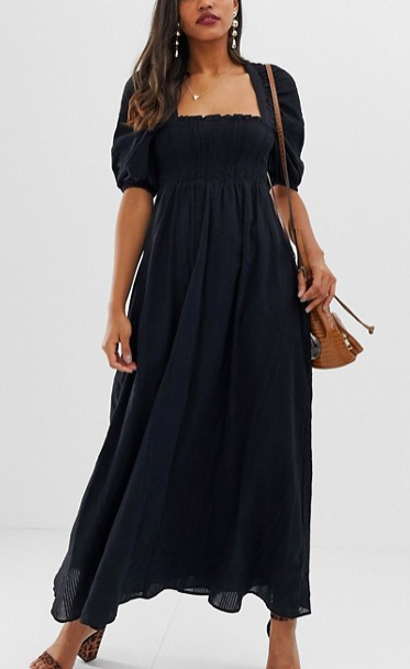 ASOS DESIGN shirred bustier maxi dress in seersucker stripe