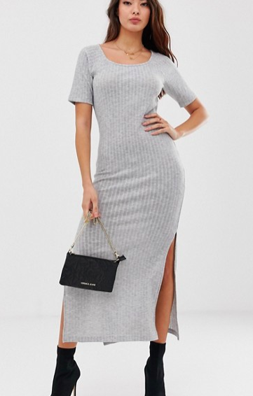 ASOS DESIGN rib maxi t-shirt dress