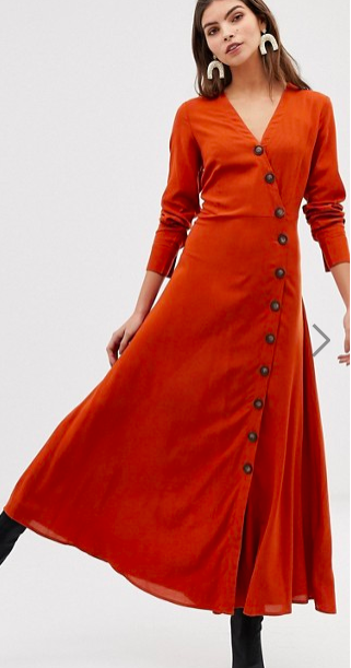 Y.A.S large button front maxi dress in rust
