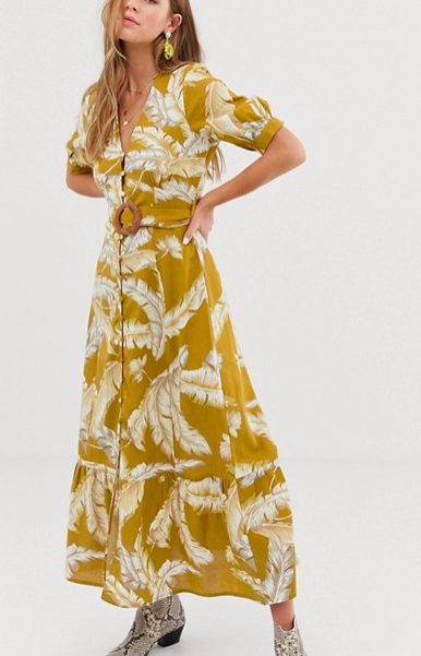 ASOS DESIGN button through maxi dress with buckle belt in palm print