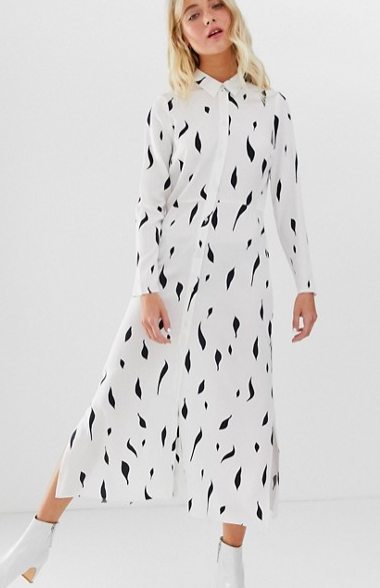 ASOS DESIGN maxi shirt dress in mono squiggle print