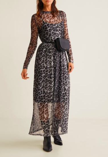 Mango Printed tulle dress