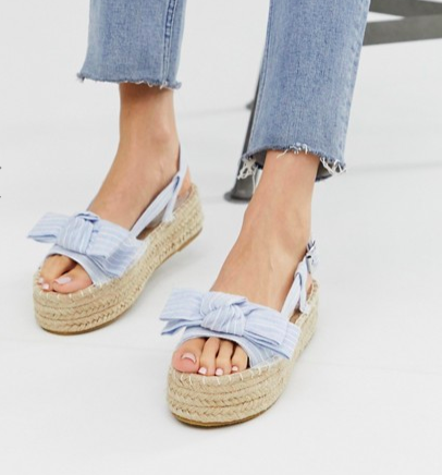 South Beach Exclusive chambray striped flatform espadrilles
