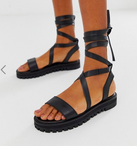 ASOS DESIGN Faster leather chunky tie leg sandals