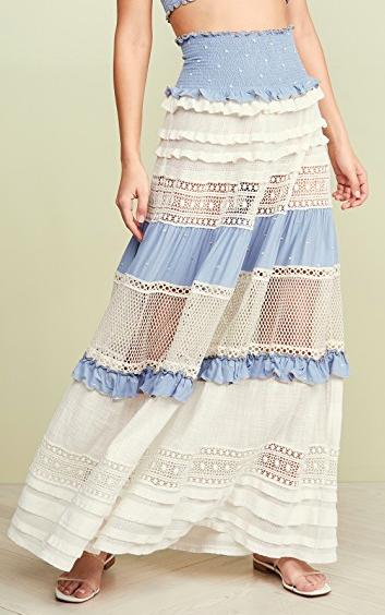 CHIO Smocked High Waist Maxi Skirt / Dress