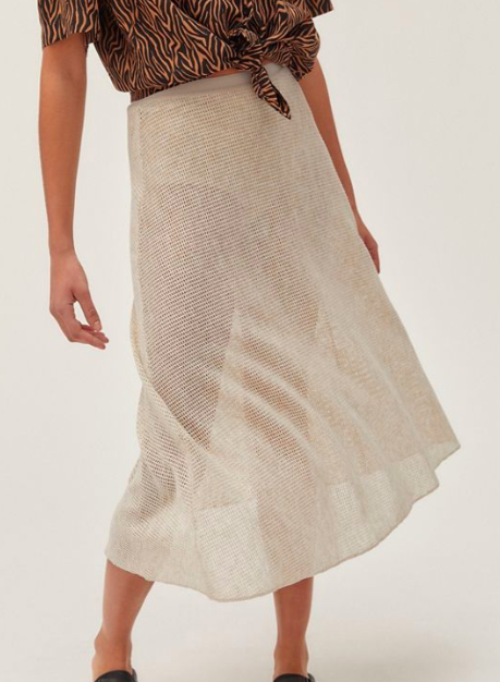 UO Courtney Semi-Sheer Mesh Slip Skirt