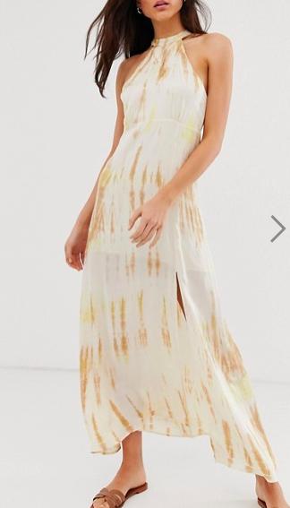 Stradivarius tie dye printed dress in yellow