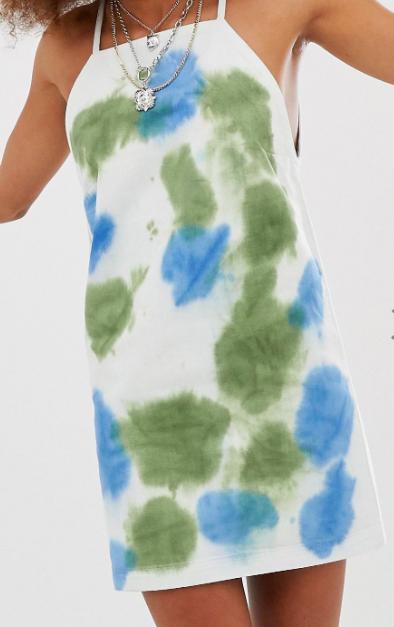 COLLUSION tie dye denim dress