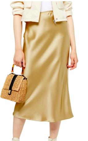 Bias Midi Skirt, Main, color, GOLD Satin Bias Midi Skirt TOPSHOP