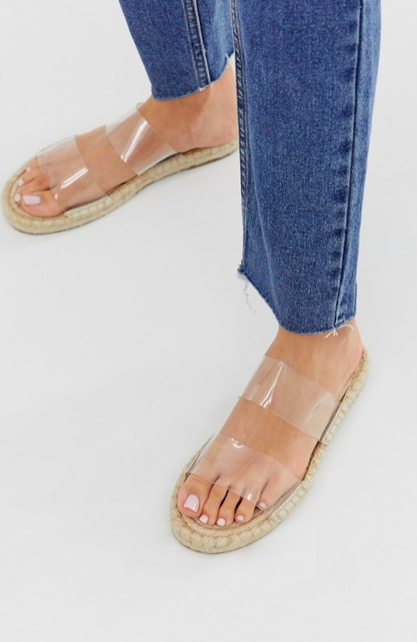 ASOS DESIGN Jetty clear espadrille mules