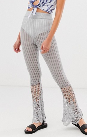 ASOS DESIGN two-piece crochet high waisted flares in metalic yarn