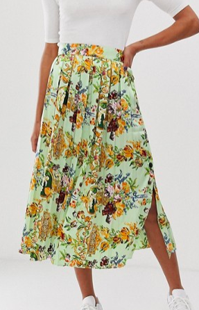 ASOS DESIGN pleated midi skirt with buttons in scarf print