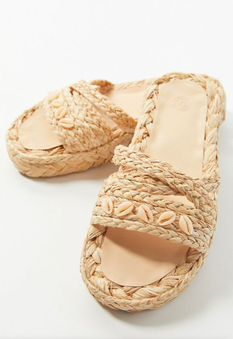 UO Willow Shell Raffia Sandal