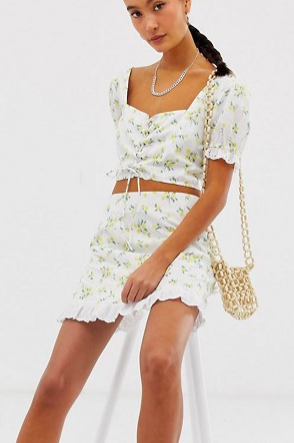 Emory Park tie front crop top & skirt two-piece in ditsy floral