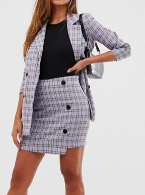 Missguided blazer & skirt in blue check two-piece