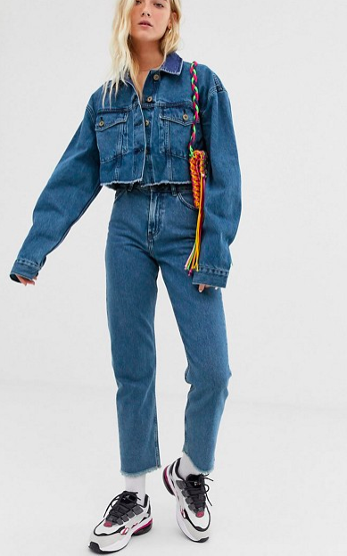 COLLUSION raw hem denim jacket & jeans two-piece