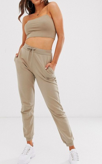 ASOS DESIGN co-ord crop bandeau with skinny straps and jogger in stone