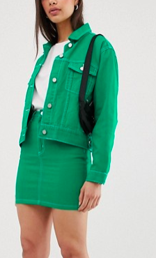Missguided two-piece denim mini skirt in green