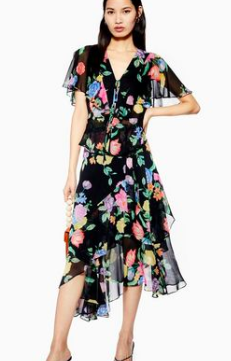 Topshop FLORAL RUFFLE TOP AND MIDI SKIRT SET