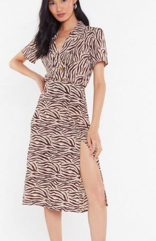 Nasty Gal MS Beige Zebra Midi Skirt